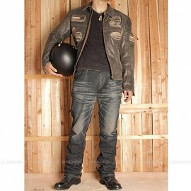 Men'sLeather Jacket - 14WJ-3 - Nâu